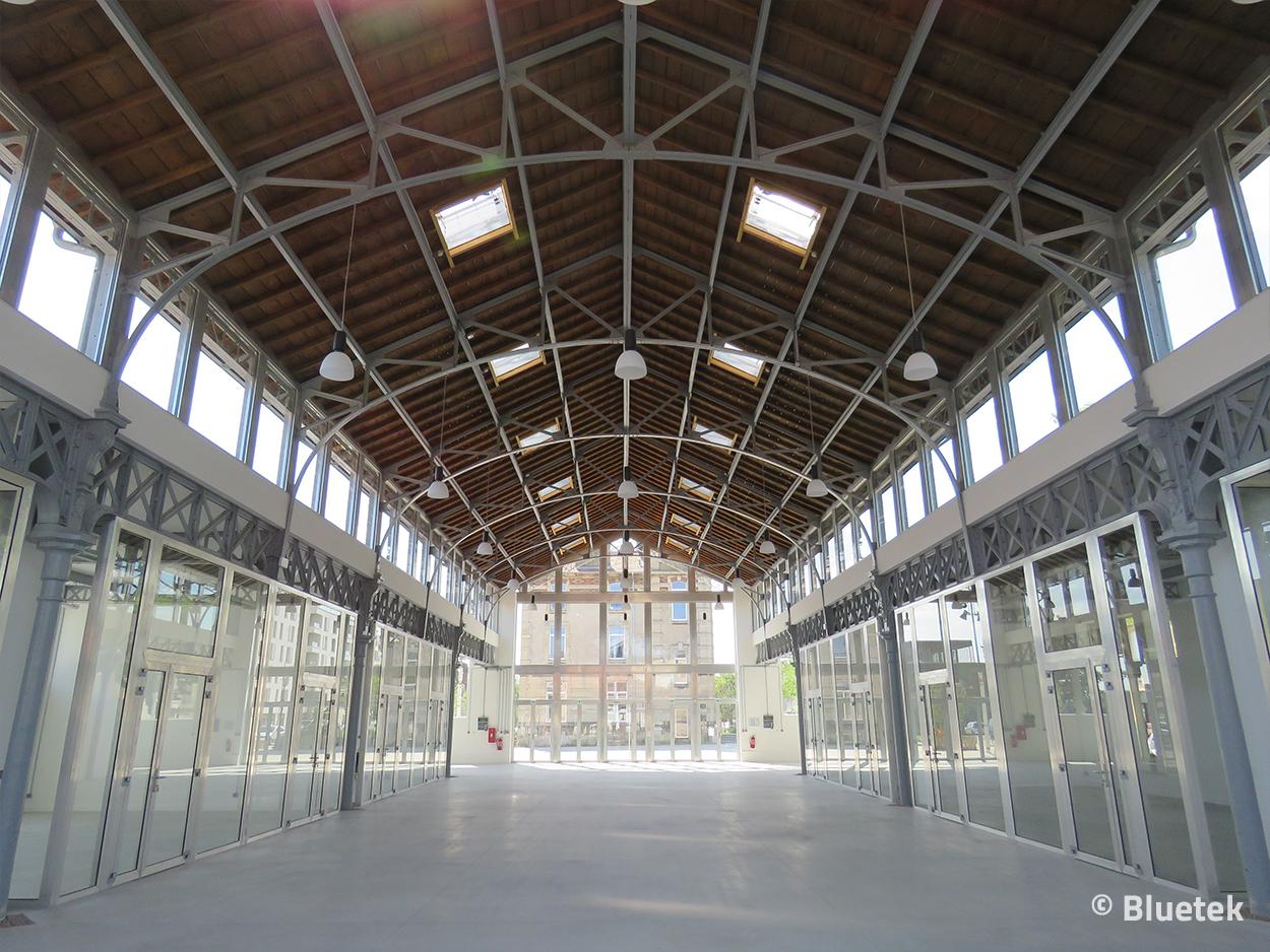 Lanterneaux DENFC par vue intérieure Petite Halle de L'Octroi juin 2021