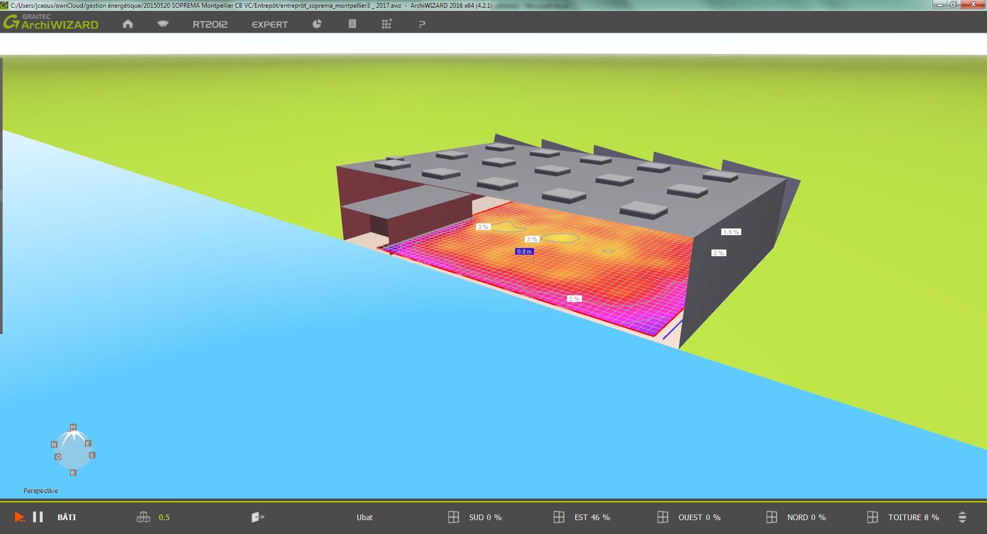 Modélisation bâtiment Soprema Montpellier rendu 3D pour site Adexsi (BIM)
