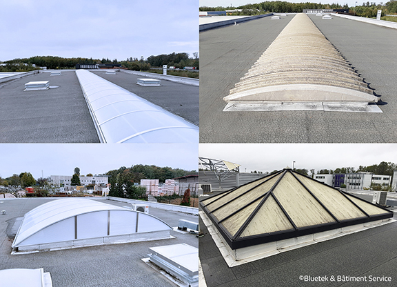Rénovation lanterneaux toiture SUEZ Eau Epinal lanterneaux Bluetek Adexsi
