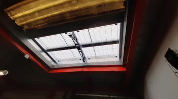 Vue intérieure rénovation lanterneau désenfumage